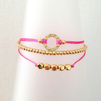 Triple Gold and Hot Pink Friendship Bracelet with Adjustable Cord