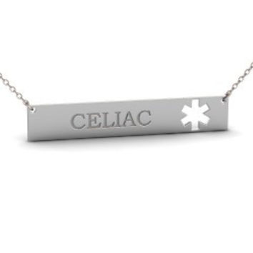Sterling Silver Medical Alert Celic Bar Necklace