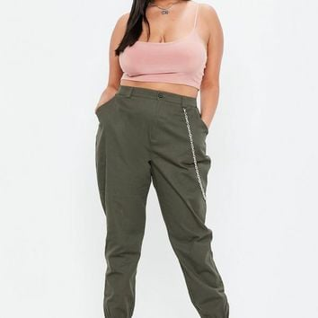 Missguided - Curve Khaki Chain Detail Cargo Pants