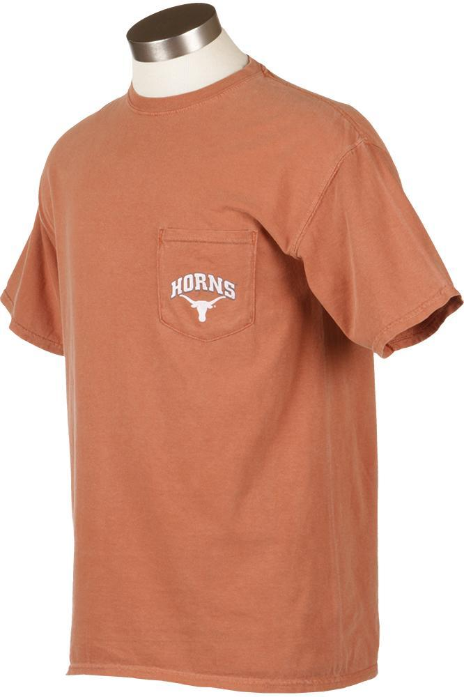 Texas comfort colors pocket t shirt from university co op for Online tee shirt companies