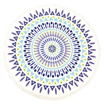 Mulit Color Doily Pattern Round Beach Towel Mat General Merchandise