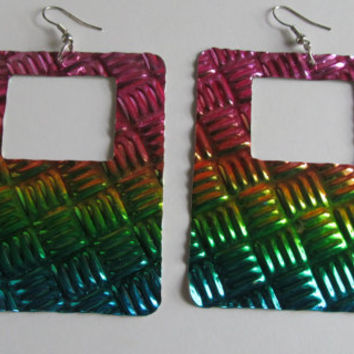 Show Off  Large Rainbow Earrings  Large Dangle earrings  Hip To Be Square Earrings