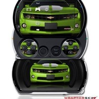 2010 Chevy Camaro Green - White Stripes on Black - Decal Style Skins (fits Sony PSPgo)