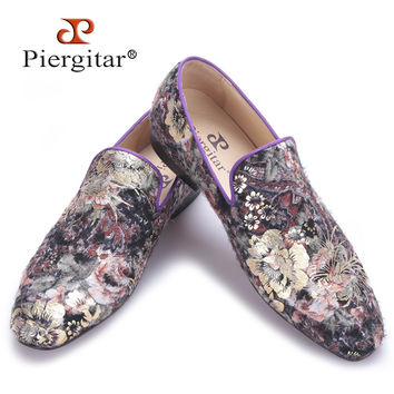 new men handmade flats shoes with Flower velvet printing Party and Wedding men dress shoes big size male loafers