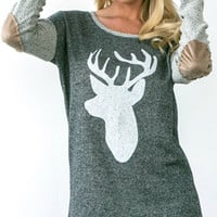 Deer Sweatshirt with elbow patch