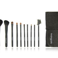 Findingcolor 10pcs Make-up Brush Set with Knot Closure (Brown)