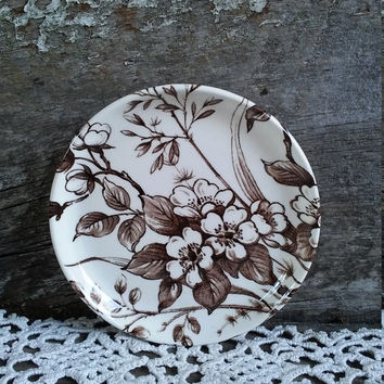 Antique Brown Floral Butter Dish, Butter Pat, Staffordshire England, Brown Transferware, Salt Dish, Pin Dish, Serving, Ironstone Small Plate