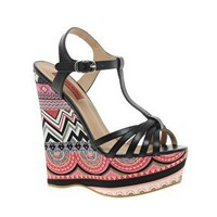 London Rebel Wedge Aztec Print Heeled Sandals at asos.com