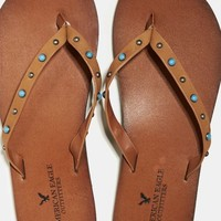AEO Women's Studded Leather Flip Flop (Cognac)