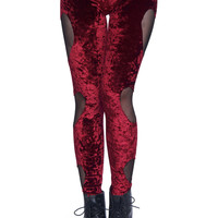 ROMWE | Heart-shaped Cutout Red Velvet Leggings, The Latest Street Fashion