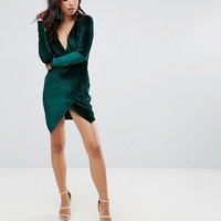 Club L Velvet Plunge Front Dress With Wrap Skirt Detail at asos.com