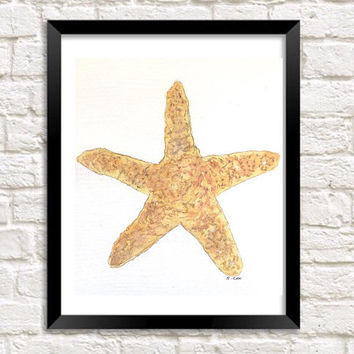 Coastal art print, Kitchen artwork, Starfish Watercolor painting, Shell painting, Beach Print, Original nature painting, bathroom art