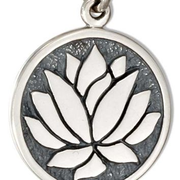 Sterling Silver Round Disk With Lotus Flower Charm