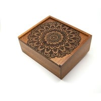 Bold Mandala - Wooden Jewellery Box