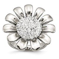 Stainless Steel Clear CZ Large Sunflower Cocktail Ring