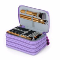 Canvas Pencils Case 72 Holders 4 Layer Multifunction Pouch Makeup Brush Pockets Pencil Case