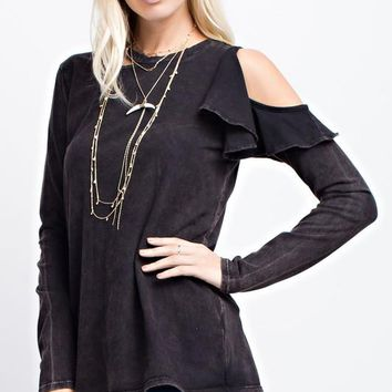 Mineral Wash Cold-Shoulder Top (Black)