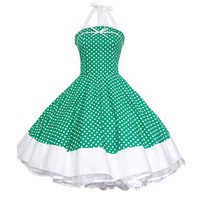 Maggie Tang Women's 1950s Vintage Rockabilly Dress Size 2XL Color Green White