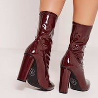 Missguided - Patent Mid Calf Sock Boots Burgundy