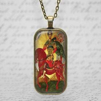 St Demetrios Greek Orthodox Icon Red Horse Glass Tile Pendant Religious Necklace Handmade Christian Saint Jewelry