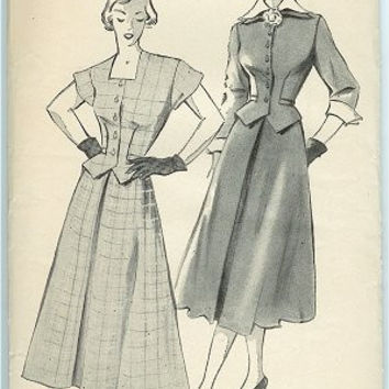Vintage 1940s New York Dress Pattern 769 Weskit, High Neck Dress, Bust 31, Hip 34, Louise Scott