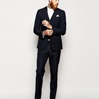 ASOS Slim Fit Suit Jacket In Blue Pindot