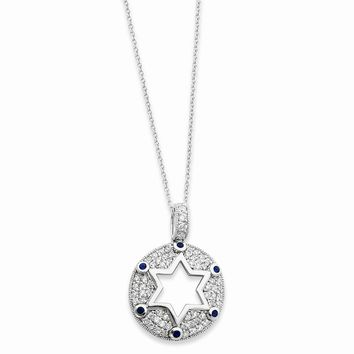 Sterling Silver w/Blue & Clear CZ Star of David 18in Necklace