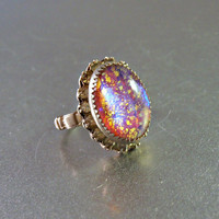 Foil Opal Ring, Mexican Art Glass Rhinestone, Size 7