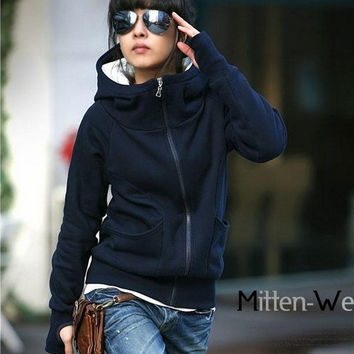 High Collar Hooded Coat with Half Gloves for Winter = 1930014980