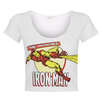 Invincible Iron Man Crop Top White