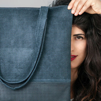 Navy leather tote bag - Soft Leather bag - Laser cut Leather bag
