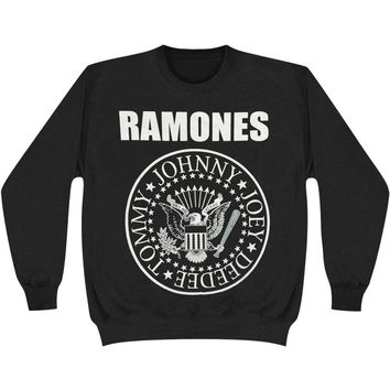 Ramones Men's  Classic Seal Sweatshirt Black Rockabilia