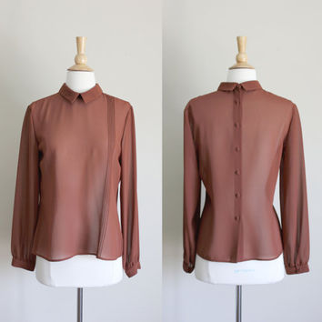 1980s Brown Semi-Sheer Button Up Back Blouse by Tahari // Medium