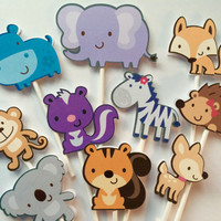 Animal cupcake toppers, monkey, koala, hippo, fox, skunk, elephant,deer, wild animals cupcake toppers, animals cake toppers