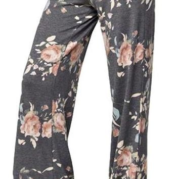 Women's Dark Gray Floral Print Casual Drawstring Long Trousers Pants