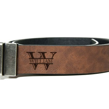 Custom Leather Belt, Handmade personalized gift, Mens Leather Belt, Reversible mens belt, solid metal buckle. - Carved Accessories