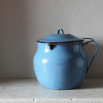 Gorgeous French Vintage Blue Enamel Pot 1940s
