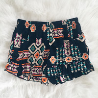 Hope Print Ruffle Shorts (Navy)