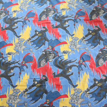 Vintage Batman and Robin Cartoon Twin Size Flat Sheet 1996