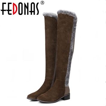 FEDONAS New Women Genuine Leather +Stretch Fabric Warm Winter Snow Boots Thigh High Sexy Over Knee Boots High Heels Shoes Woman