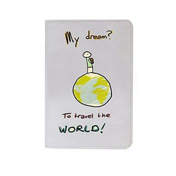 Travel The World Leather Business ID Passport Holder Protector Cover_SUPERTRAMPshop