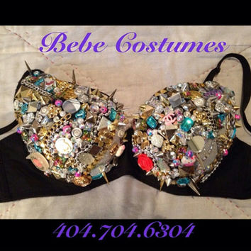 Bebe Costumes **Made To Order** Exotic Dancewear Sexy Junk Bling Bra Pick A Color, comes w/ thong