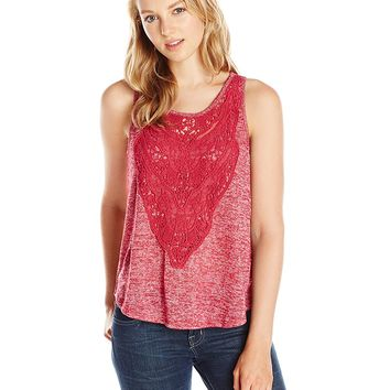 Eyeshadow Junior's Tank Top with Front Applique, Red Bud, Small