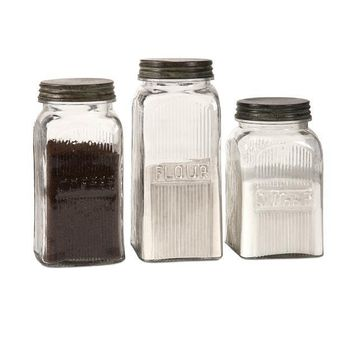 IMAX Stylish Dyer Glass Canisters (Set Of 3)