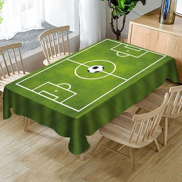 Fun World Cup Green Football Stadium Print Polyester Table Cloth Country Style Solid Multifunctional Rectangle Table Cover Table
