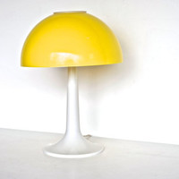 Mid Century Modern Table Lamp - Yellow and White Atomic Mushroom Table Lamp