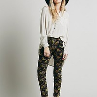 Free People Womens Retro Floral Velvet Skinny - Black Retro