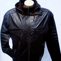 Mens Black hooded Handmade  leather jacket