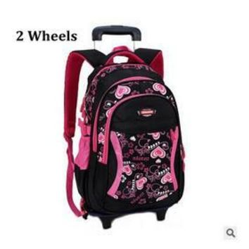 School Backpack 2018 Kids Travel Trolley Backpack On wheels Girl's Trolley School bags Children's Travel luggage Rolling Bag s AT_48_3