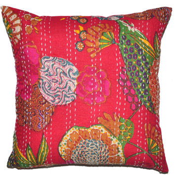 24x 24 Red kantha Pillow Cover, kantha Throw Pillow, Decorative kantha Pillow, Indian Pillow, Pillowcase, Indian Cushion Cover, Large Pillow